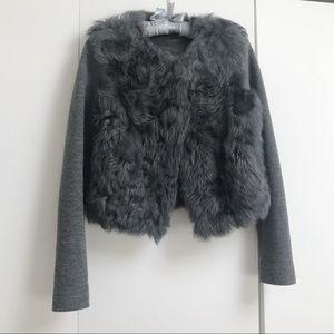 Massimo Dutti Grey Combined Fur Jacket